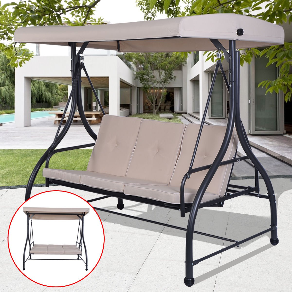 Beige Converting Bed Swing Hammock Chair Patio 3 Person Seat With Canopy Outdoor Furniture