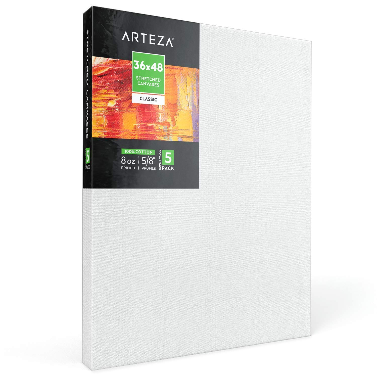 """Arteza 36x48"""" Stretched White Blank Canvas, Bulk Pack of 5, Primed, 100% Cotton for Painting, Acrylic Pouring, Oil Paint & Wet Art Media, Canvases for Professional Artist, Hobby Painters & Beginner"""