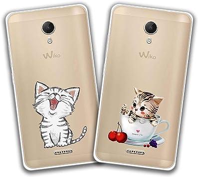 kaliter 2 X Coque Wiko Jerry 2,Personnalité Chat Souple Transparent TPU Gel Silicone Smartphone Protecteur Housse pour Wiko Jerry 2 (5,0 Pouces)