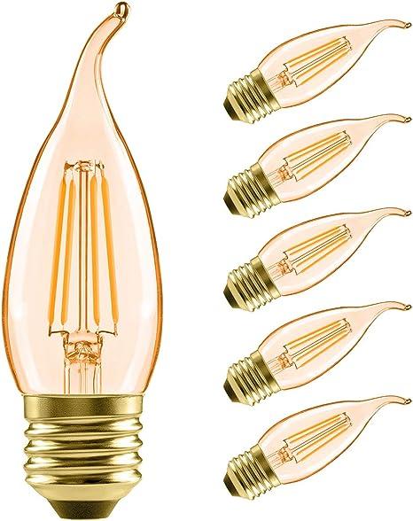 6 PACK LED Dimmable Chandelier Bulbs Candelabra 40 Watt Equiv 4.5 Watt B11