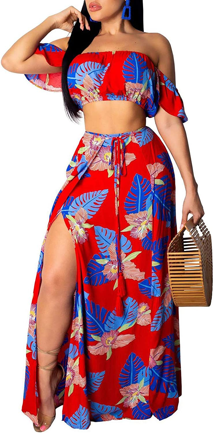 Two Piece Outfits for Women - Sexy Summer Floral Beach Off The Shoulder  Crop Top Side Slit Maxi Skirt Party Dress