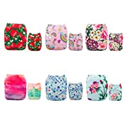 ALVABABY 6pcs Pack Pocket Adjustable Reusable Cloth Diaper with 2 Inserts Each (Girl Color) 6DM11