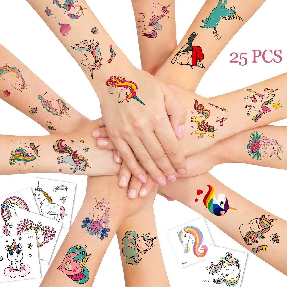 Bibivisa 25x Grande Unicornio Tatuajes Temporales para Niños ...