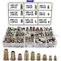 Schroefdraadinzet hout inschroefmoer M4 M5 M6 M8 binnenzeskantmoeren voor houten meubels (150 stuks)