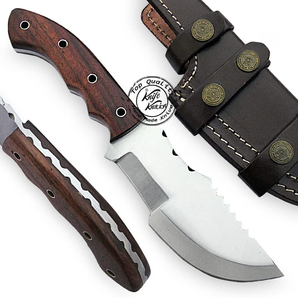 Beautiful Rose Wood Handmade D2 Steel Tracker Hunting Knife Prime Quality