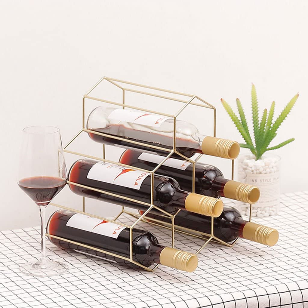 ZJJ Wine Rack Simple Modern high-end Triangle Iron Rose Gold bar Creative Wine Cabinet Decoration