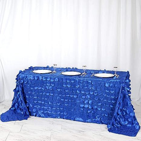 Royal Blue  Black Flocking Swirl Taffeta 58 X 108 Rectangle Tablecloth