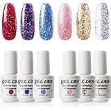 Gellen Glitters Gel Nail Polish Set - Shiny Glitters (Red Purple Blue Pink Gold Gold White), Trendy Sparkle Nail Art…