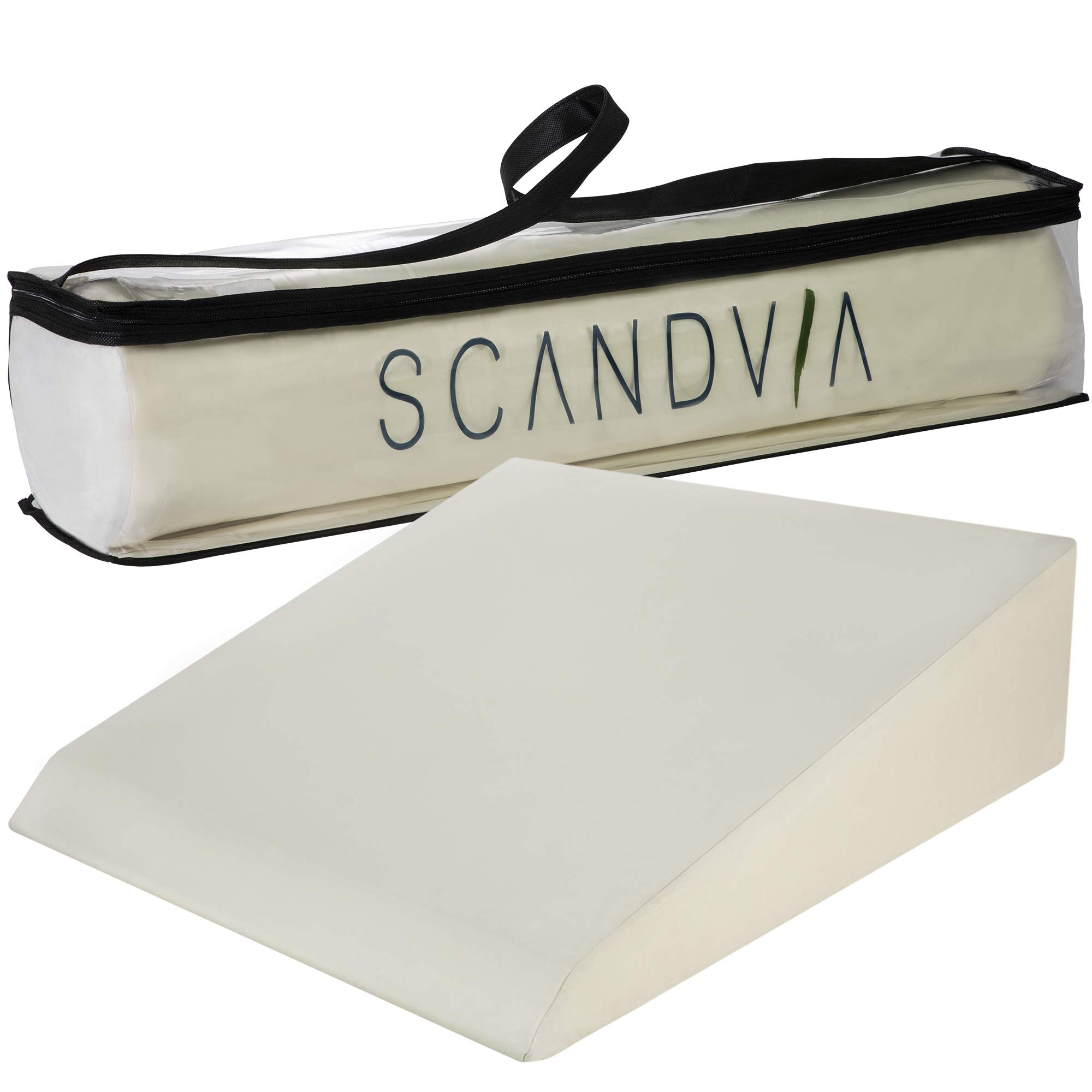 XL Memory Foam Wedge Pillow with Large, Soft Linen Cover - 8'' Wider Than Most Sold