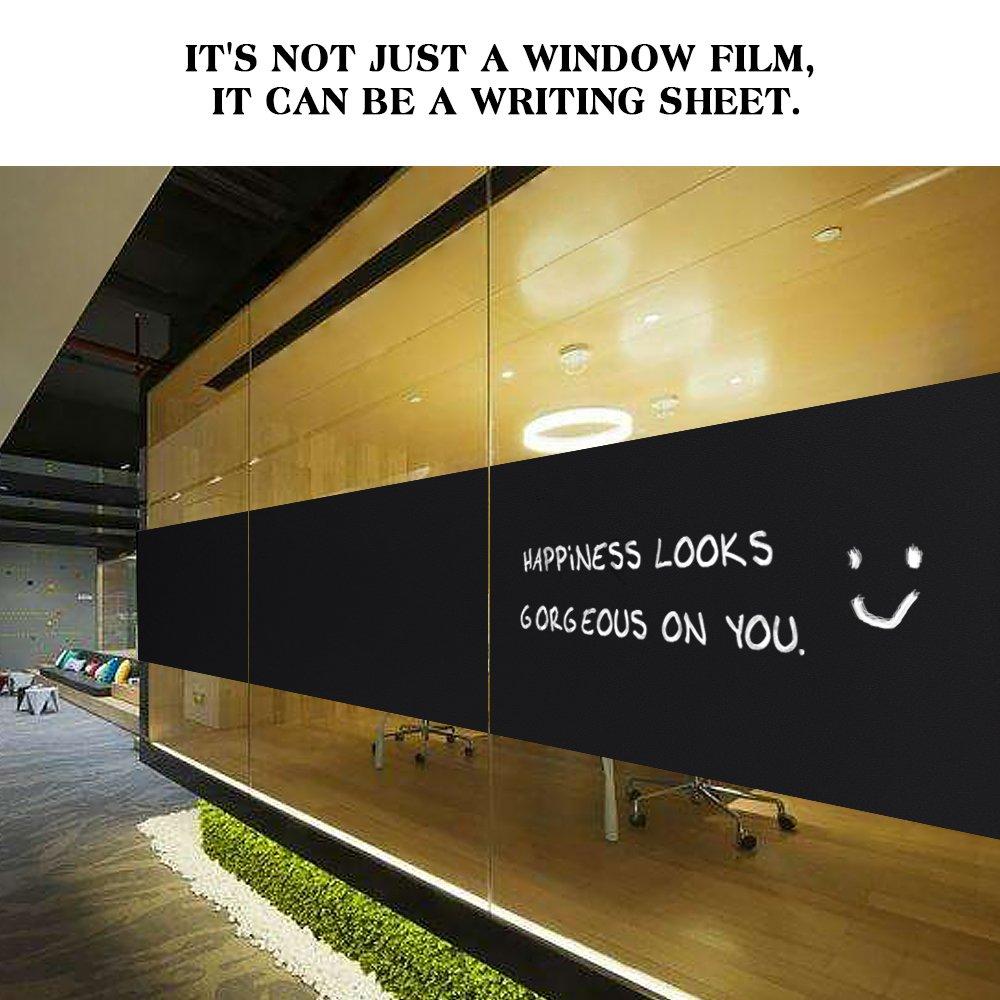 Matte Black Rabbitgoo Blackout Window Film Privacy Window Cling Dark Window Tinting Film Non-Adhesive Window Sticker Light Blocking 17.5 x 78.7