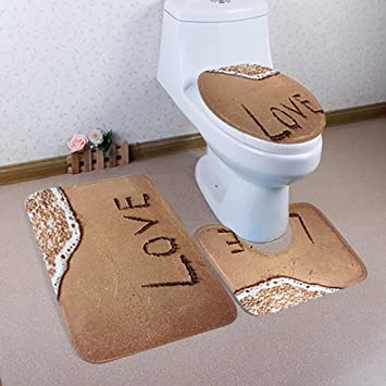 Amazon.com : Toilet Seat Mat Set, SMYTShop Bathroom Non-Slip Blue ...