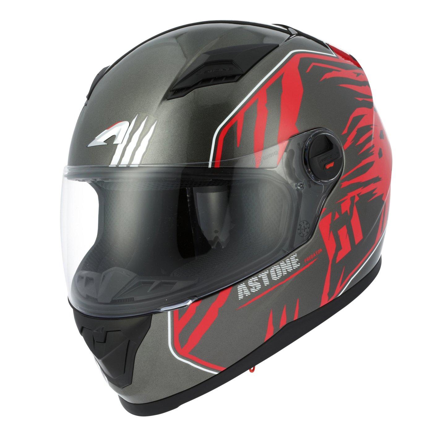 Amazon.es: Astone Helmets gt2g-predator-brl casco Moto Integral GT, negro/rojo, talla L