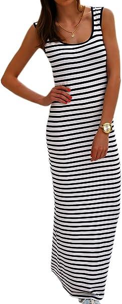 BOHO Damen Sommerkleid Strandkleid Freizeit Maxikleid Stretch Lange Tank Kleider