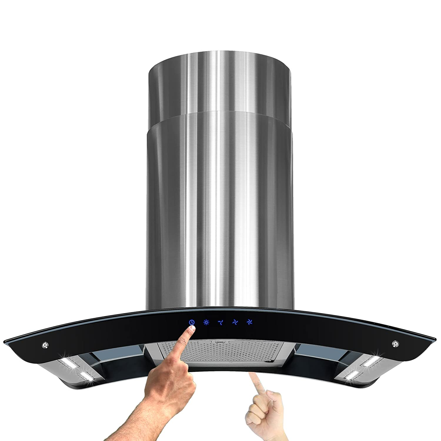 """AKDY New 36"""" European Style Island Mount Stainless Steel Range Hood Vent Touch Control"""