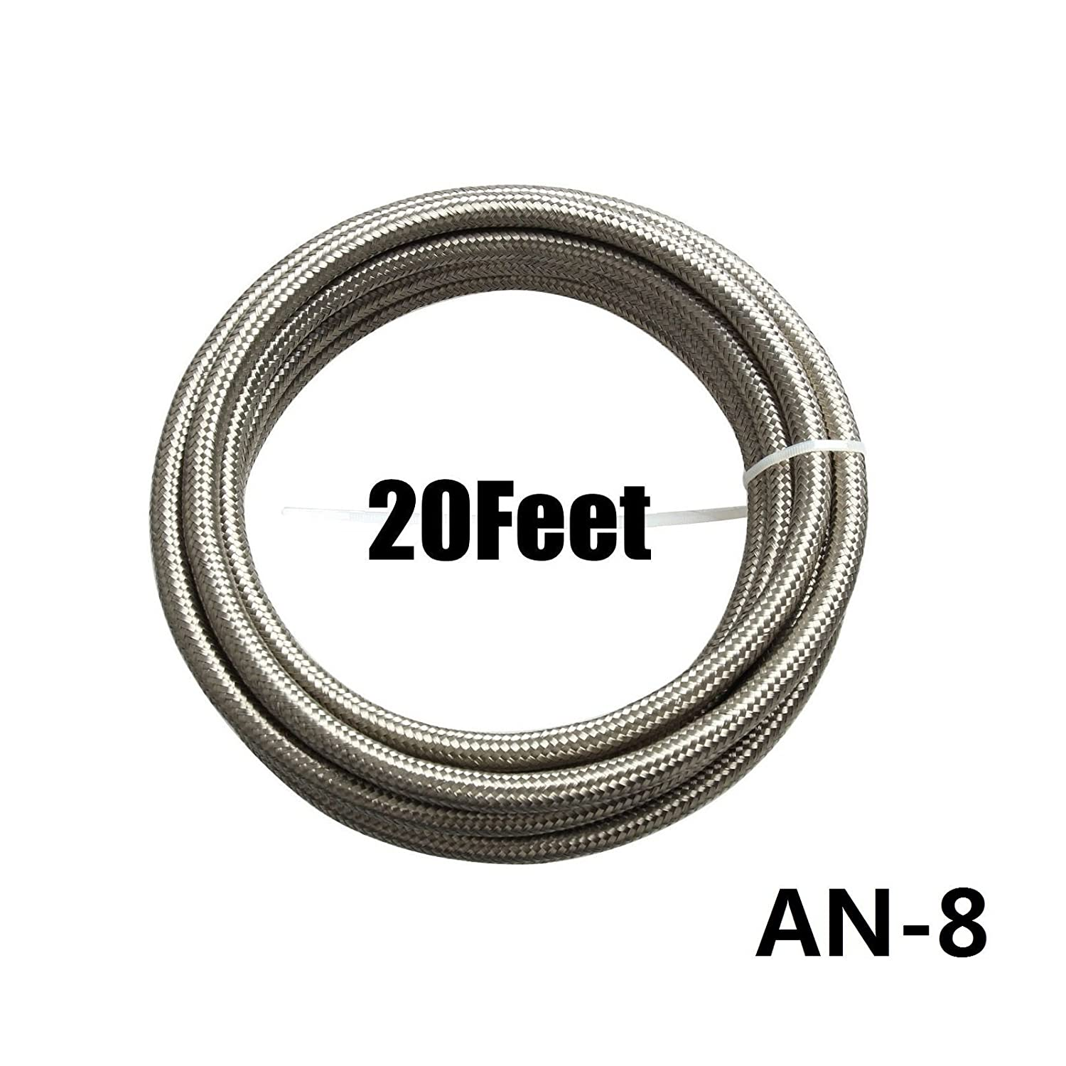 12AN Fittings Kit Silver yjracing 20Ft 12-an Stainless Steel Braided Oil Fuel Gas Line Hose