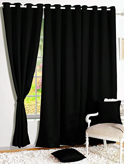 Story@Home Room Darkening Blackout Plain Faux Silk Premium Solid 2 Piece Window Curtain, 5ft, Black