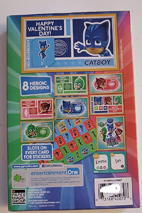 amazon com pj mask 32 valentines w 32 stickers cards office
