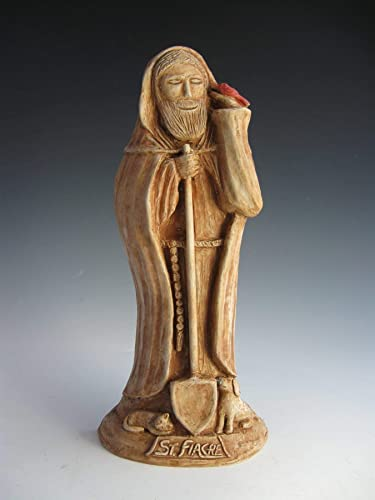 Handmade Statue of St. Fiacre, Patron of Gardeners, with Cat, Dog, Bird