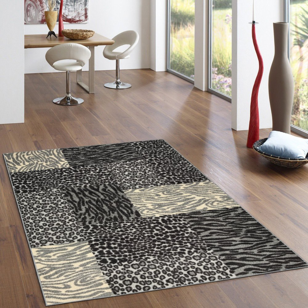 Rubber Backed 2-Piece Rug SET Grey Animal Print Patchwork Area Non-Slip Rug Kitchen Dining Living Hallway Bathroom Pet Entry Rugs RAN2120-2PC