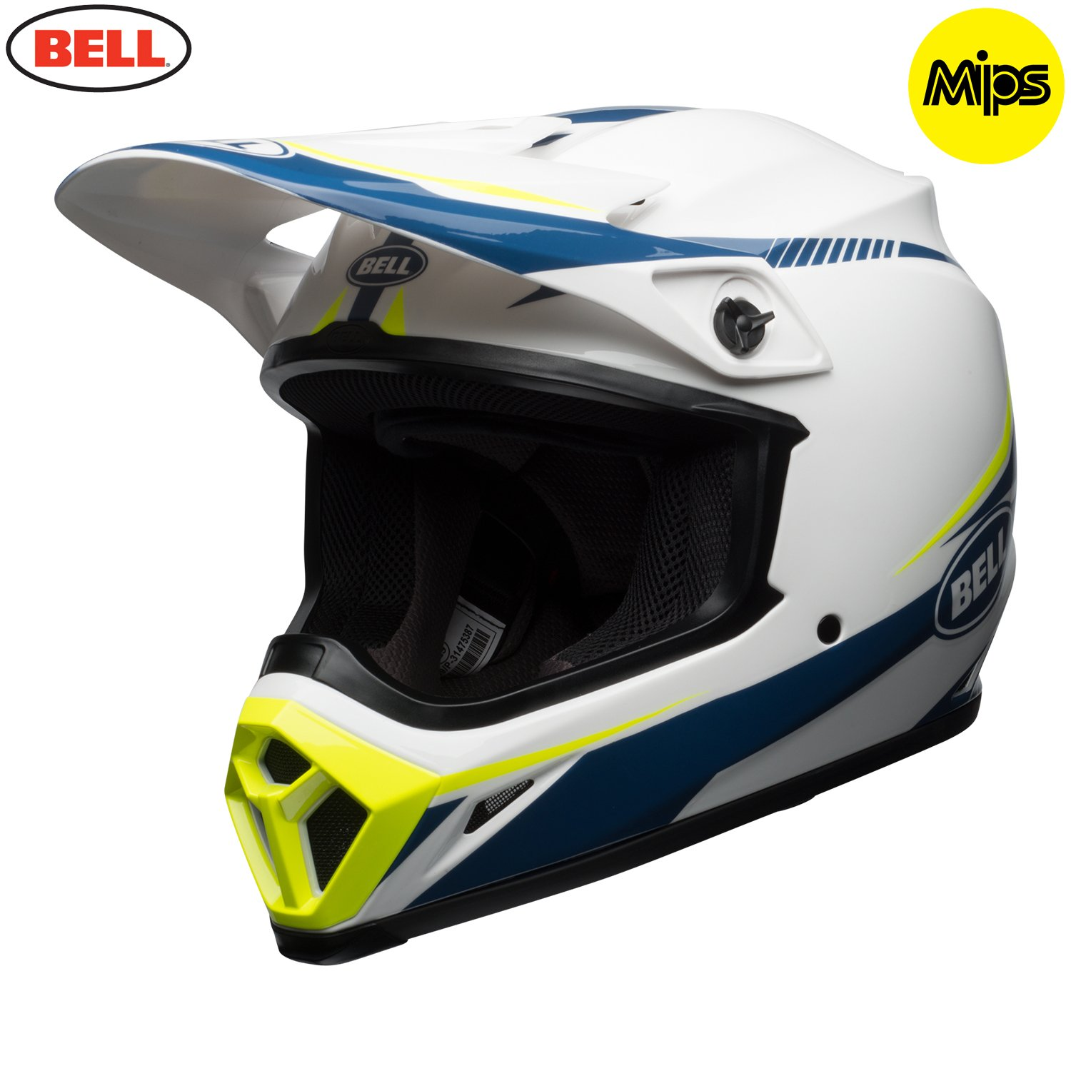 HELMET BELL MX-9 MIPS TORCH WHITE//BLUE//YELLOW L