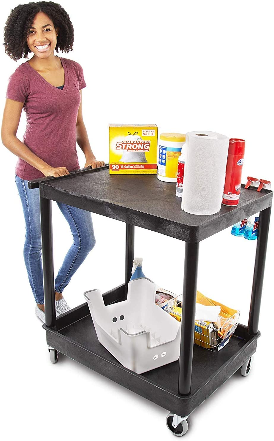 Original Tubstr Flat Top Utility Cart Service Cart Large, 32 x 24 Inches Heavy Duty, Supports up to 400 lbs – Lipped Top Shelf and Deep Tub Bottom Shelf Great for Warehouse, Cleaning and More