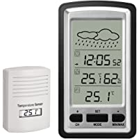 Wireless Weather Station Digital LCD Alarm Clock with Outdoor Sensor Thermometer Hygrometer