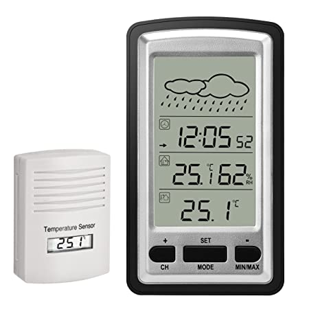 Estación meteorológica inalámbrica HopCentury Reloj despertador digital Termómetro higrómetro con sensor interior para exteriores, pantalla