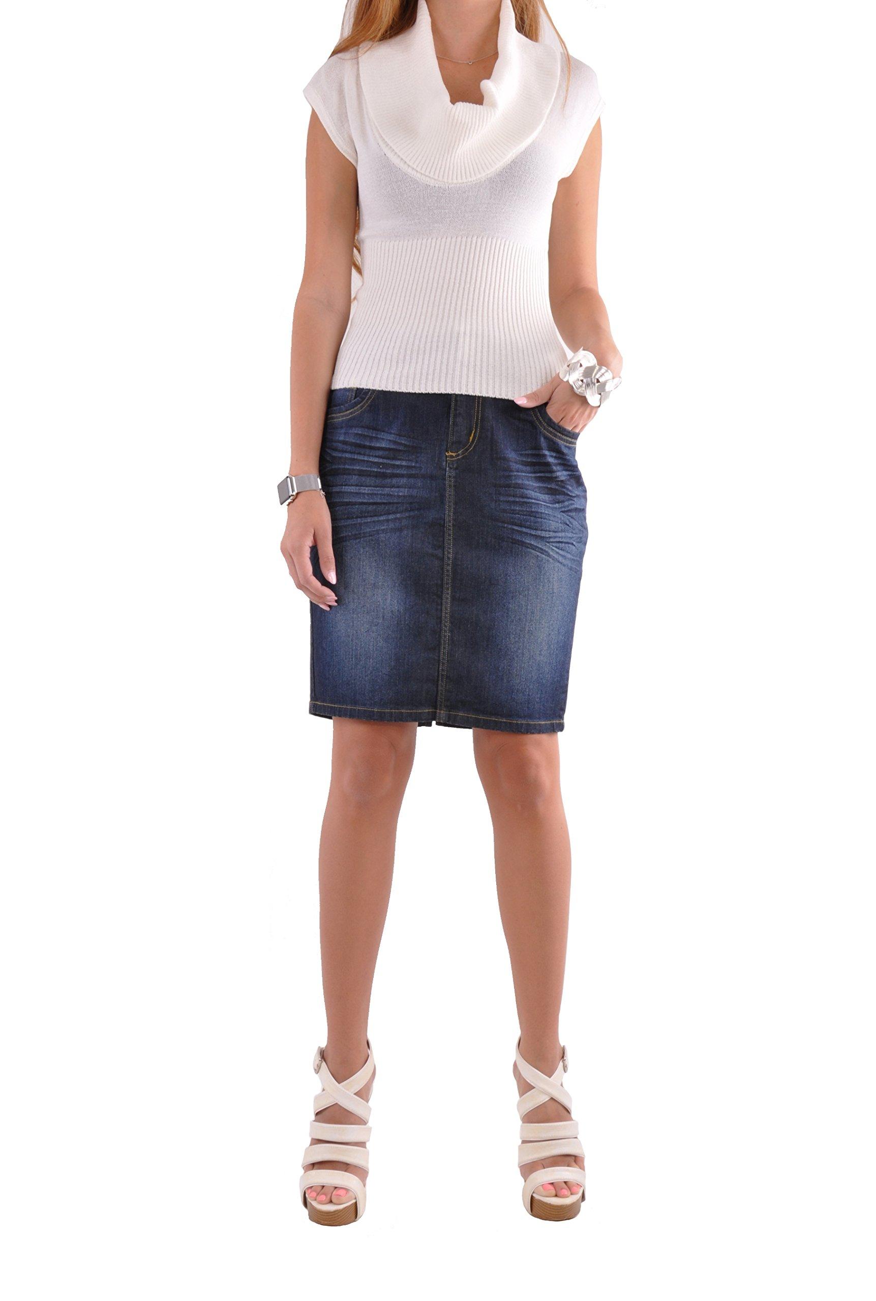 Style J Cute Classy Pencil Skirt-Blue-36(16)
