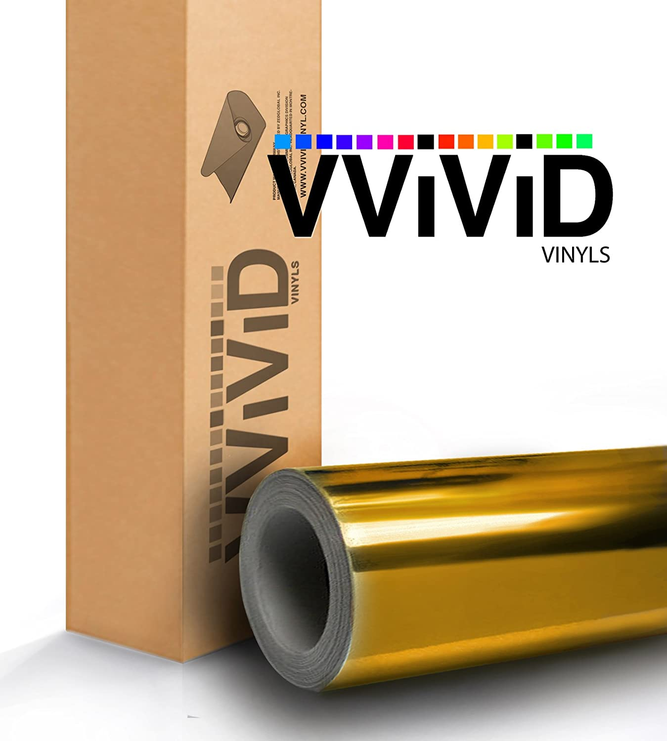 VViViD Gold Brushed Chrome Cast Vinyl Wrap Roll Film Decal Sticker Featuring Air Free Channel Technology 1ft x 5ft