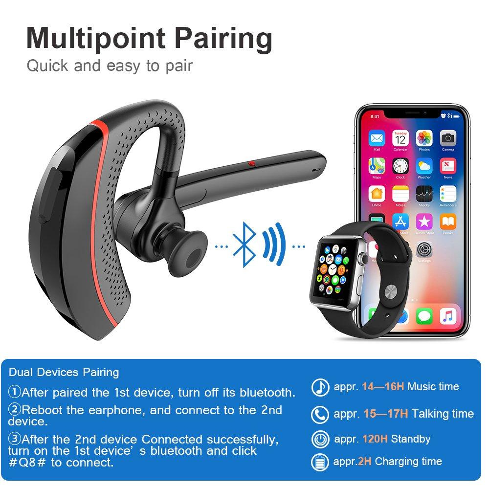 Manos Libres y Cancelaci/ón de Ruido para iPhone iPad Auricular Inal/ámbrico in Ear con Micr/ófono Mini Auricular Invisible Bluetooth V4.1 Huawei Cargador Magn/ético USB Sony Samsung