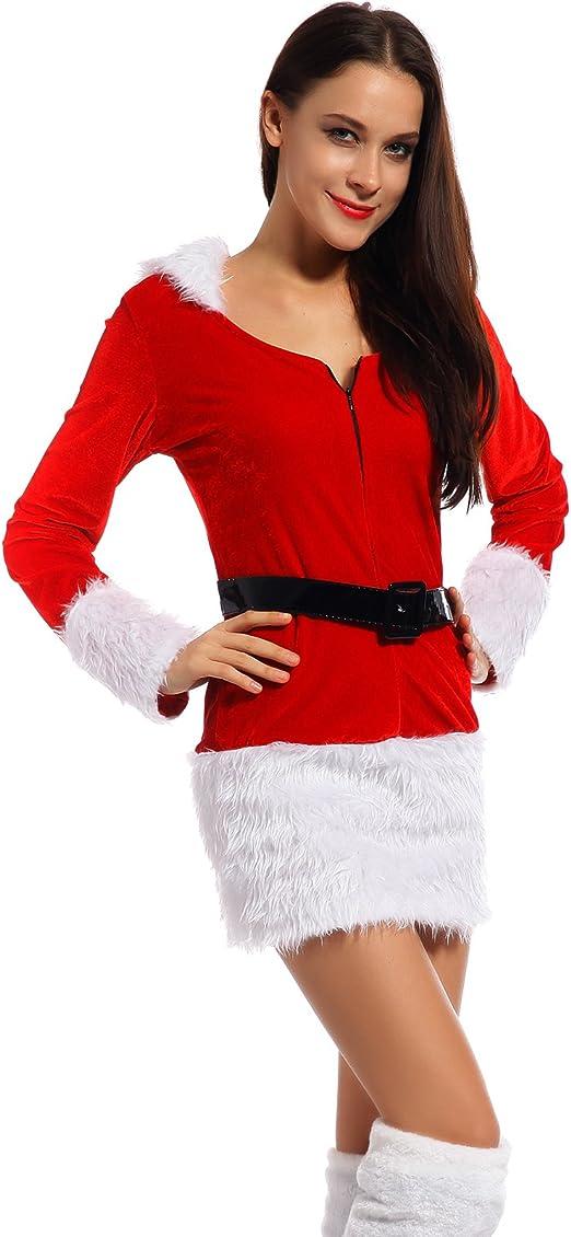 Maboobie - Disfraz de ayudante de Papá Noel rojo sexy para mujer ...