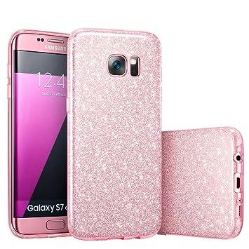 Coovertify Funda Purpurina Brillante Rosa Samsung S7 Edge, Carcasa resistente de gel silicona con brillo Rosa para Samsung Galaxy S7 Edge (5,5