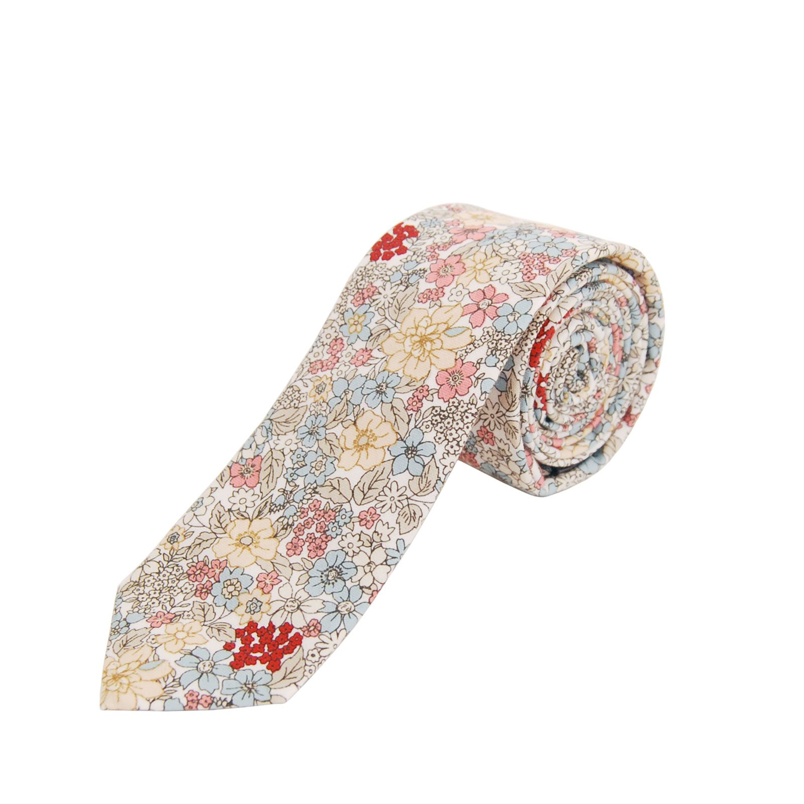 Jnjstella Men's Cotton Floral Skinny Necktie Tie (Type 6)