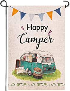 Shmbada Happy Camper Burlap Garden Flag, Double Sided Outdoor Decoration, Holiay Travel Trailer Sping Summer Decorative Banner Small Flags for Yard Lawn Patio Farmhouse, 12.5 x 18.5 inch
