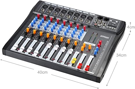 ammoon® Mezcla de Audio Mezclador Consola CT80S-USB 8 Canales ...