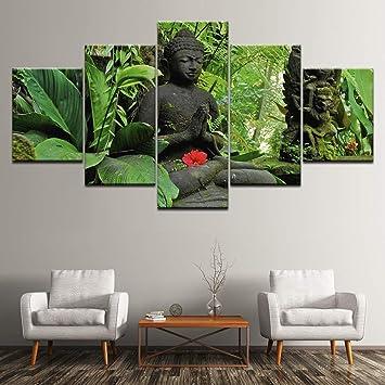 Zxddzl Peinture Sur Toile Bouddha Dans La Forêt Verte 5 Pièces Mur