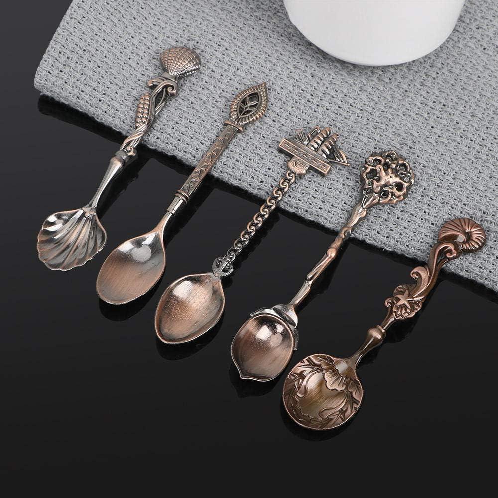 5 piezas de vajilla, cucharas de sopa, juegos de cubiertos, servicio de té, cucharas de acero inoxidable, talladas, estilo vintage antiguo-Plata: Amazon.es: Hogar