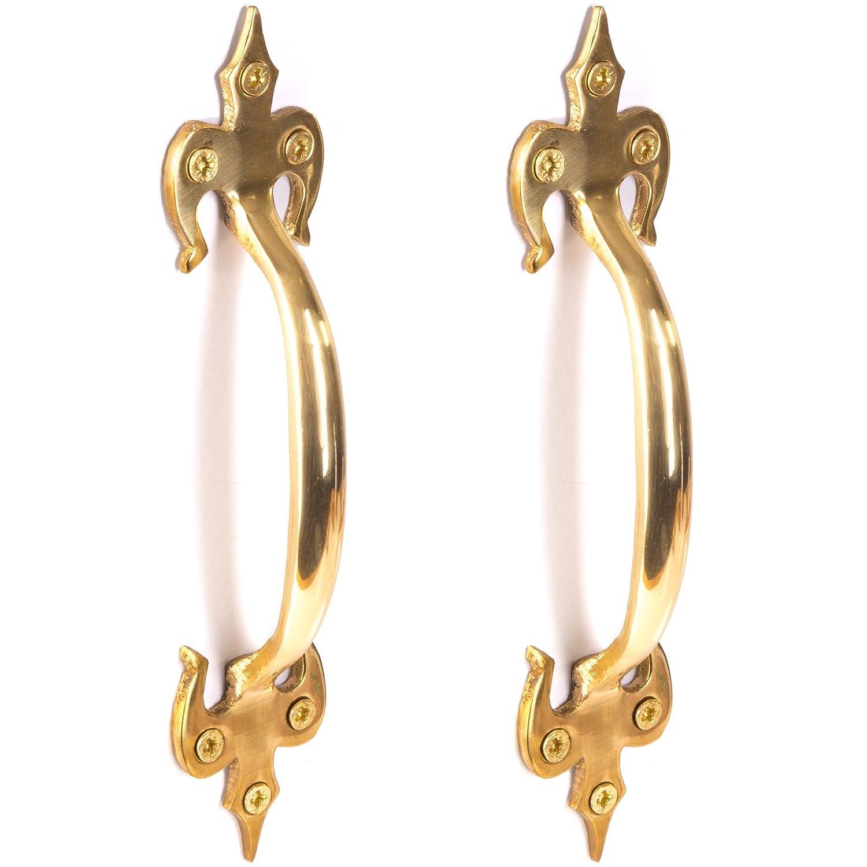 2X Premium Large Solid Brass Door Handles Fleur De LYS Style Length 180mm