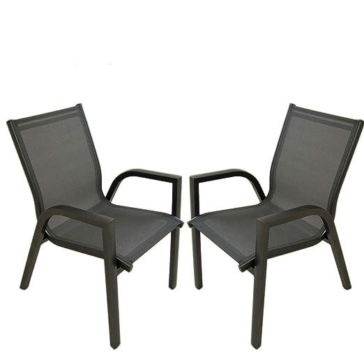Edenjardi Pack 2 sillones de terraza apilable, Tamaño ...