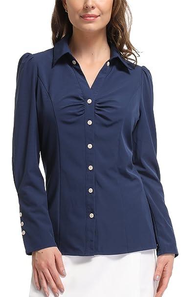 MISS MOLY Blusa de Manga Larga para Mujer Formal Simple Camisa de Trabajo de Oficina Azul