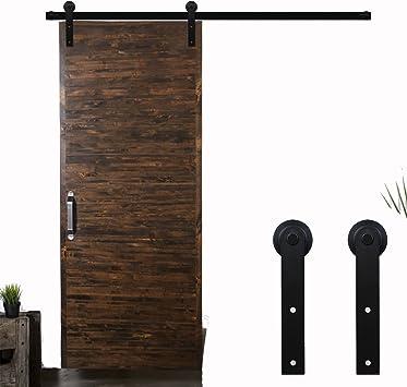9FT Herraje para Puerta Corredera Kit de Accesorios para Puertas Correderas,Negro I-Forma: Amazon.es: Bricolaje y herramientas