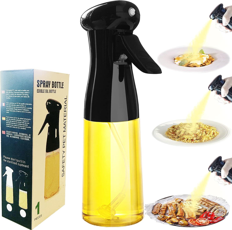 Olive Oil Sprayer for Cooking 210ml Clear Spray Bottles Mist Sprayer for Oil Empty Fine Spray Mister Bottles 8 oz Oil Dispenser Bottle Spray for Kitchen Air Fryer, Salad, Baking, BBQ, Frying