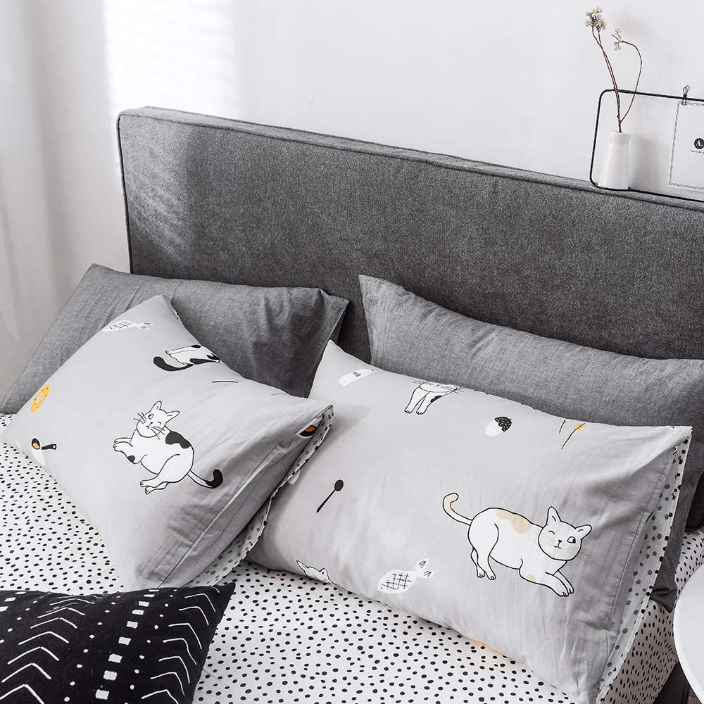 BuLuTu Twin Duvet Cover Set Grey//White Cotton Black White Cats Donuts Carrot Fish Milk Food//Dots Print Pattern,3 Pieces Gray Twin Bedding Sets for Kids Boys Girls Men Women,68x86 in,No Comforter