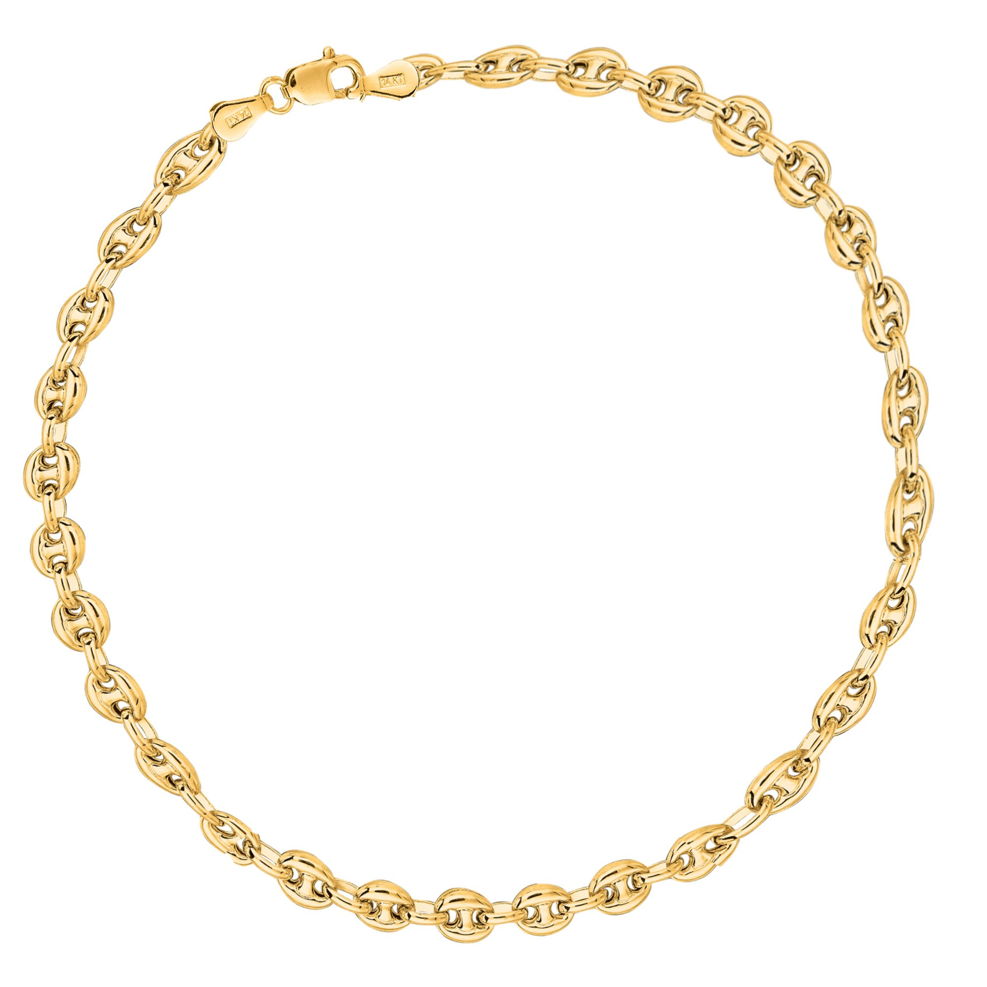 Children's 14k Solid Gold Baby Puffed Mariner Link Kids Bracelet 6 Inches