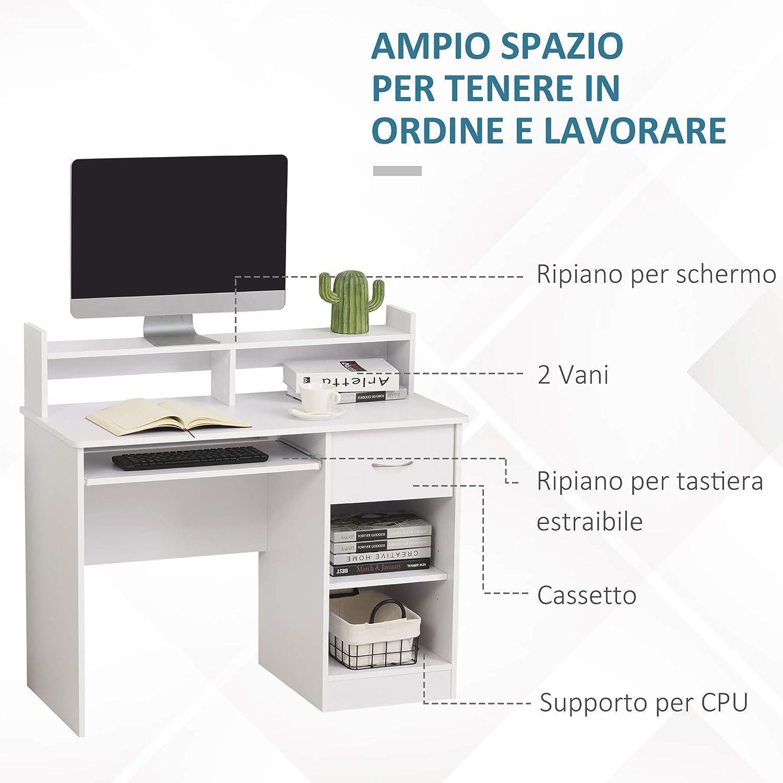 homcom Scrivania Compatta per Computer Fisso PC in Legno Bianco con Ripiano Tastiera Estraibile e Mensole 104x48x95.5cm