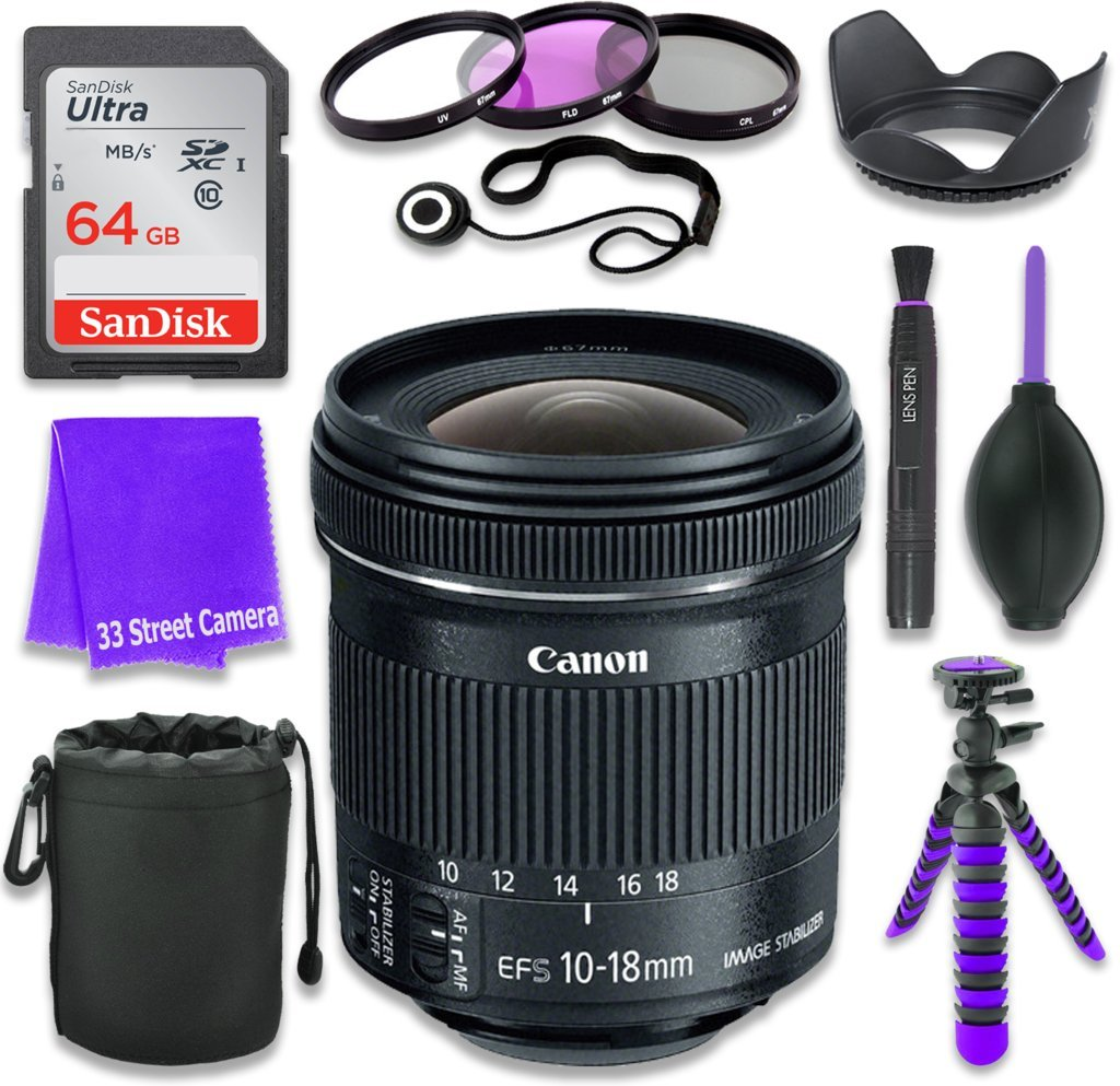 Canon EF-S 10-18mm f/4.5-5.6 IS STM Lens (White Box, Bulk Packaging) for Canon DSLR Cameras & SanDisk 64GB Class 10 Memory Card + Complete Accessory Kit (11 Items) by Canon