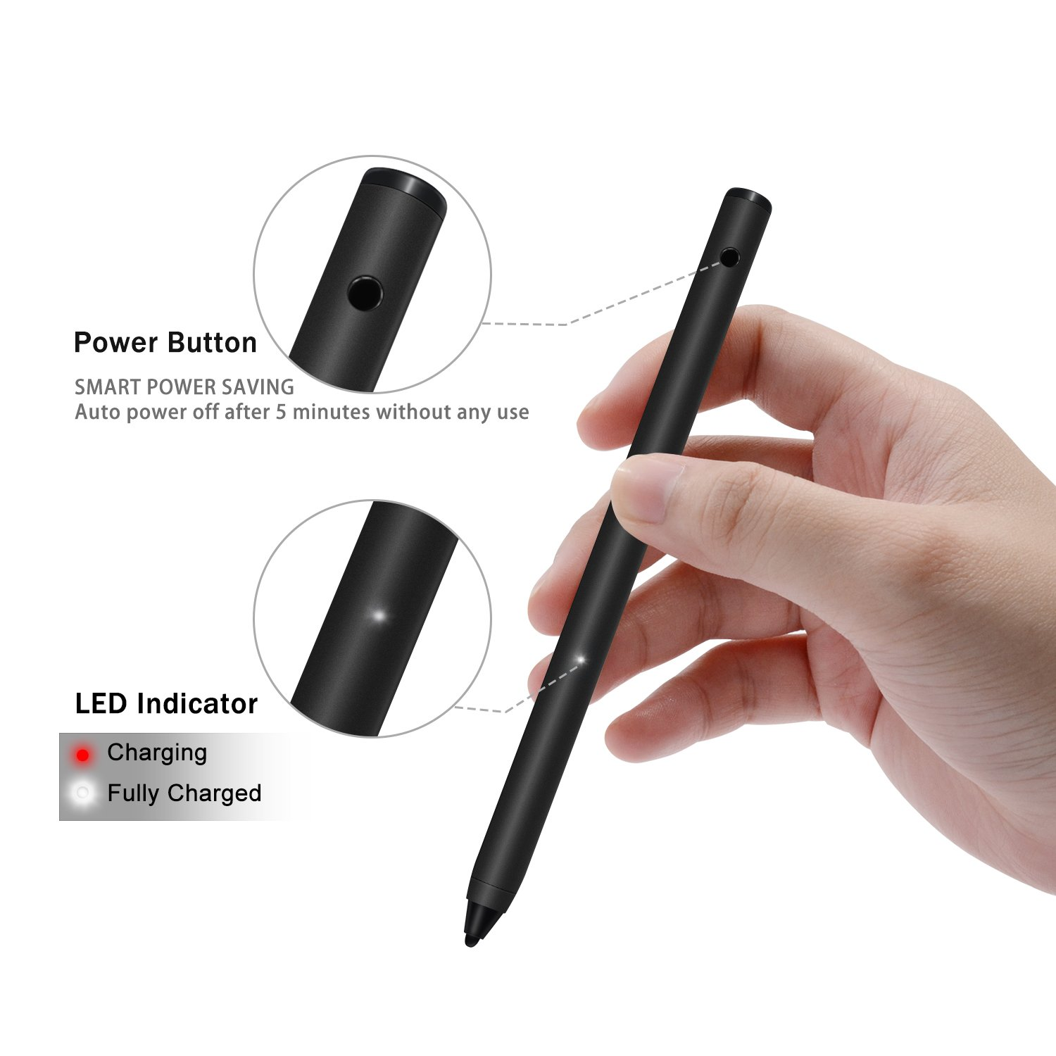 Electronic Stylus, LEFON Active Stylus Digital Pens with 1.8 mm Fine Point Copper Tip for iPhone/iPad/Samsung Tablets and Other Capacitive Touchscreens Devices (Black) by Lefon (Image #4)