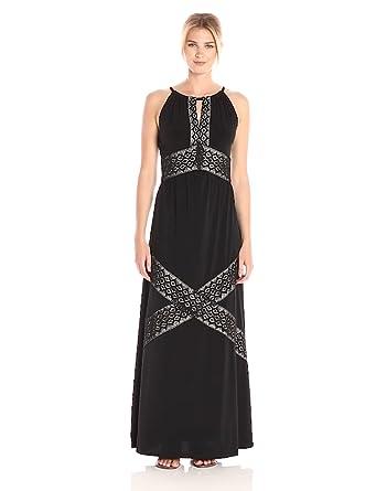 033d1d0879f London Times Women s Sleeveless Halter Jersey Maxi Dress at Amazon ...