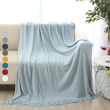 ALPHA HOME Soft Throw Blanket Warm & Cozy for Couch Sofa Bed Beach Travel - 50  x 60 , Light Blue