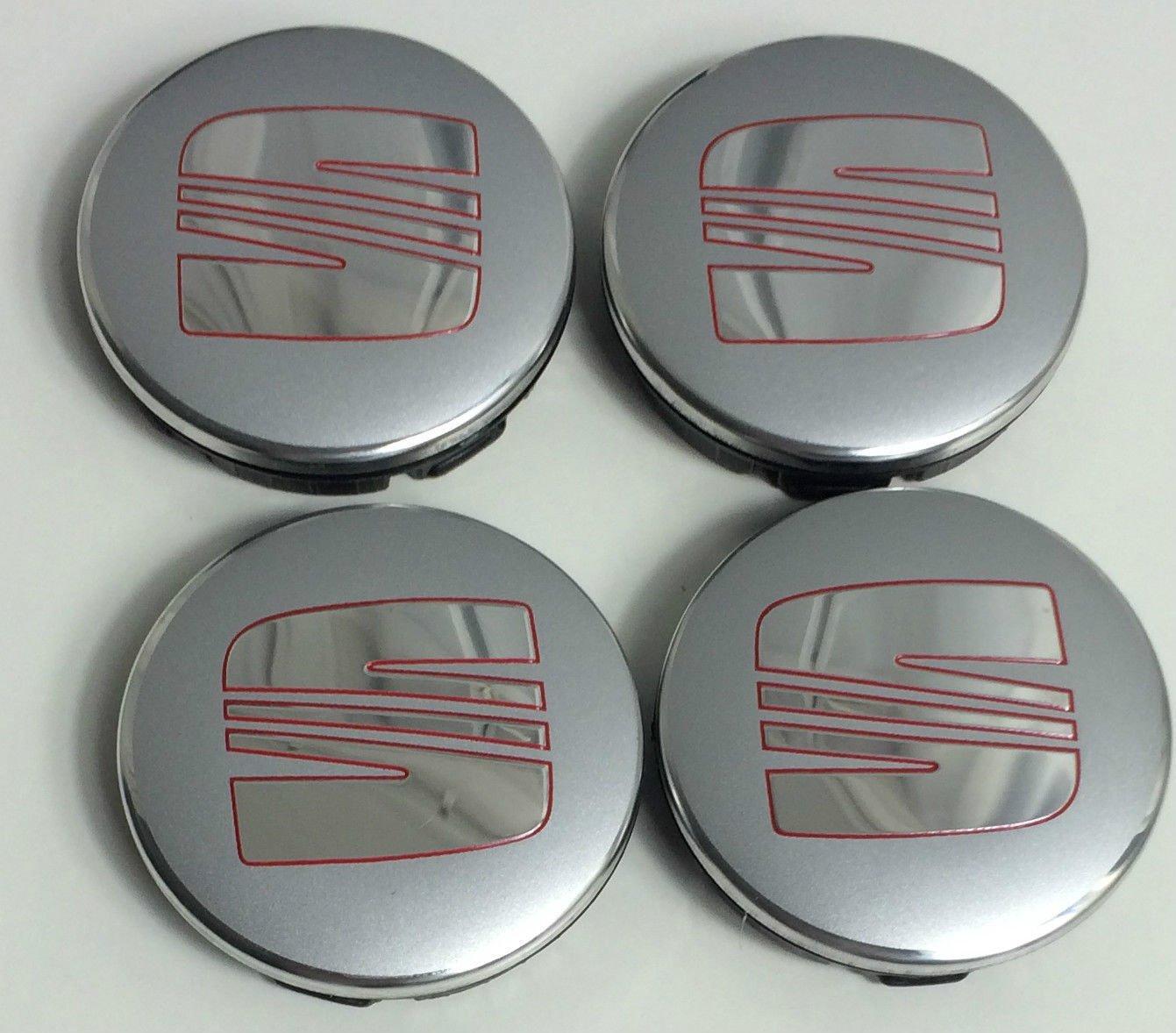 Juego de 4 tapacubos con logo en rojo y plata, 56 mm: Amazon.es: Coche y moto